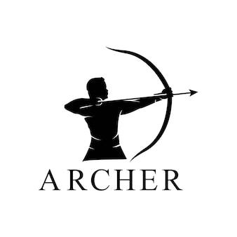 Hércules hércules com arco e flecha de arco longo, design do logotipo da silhueta do guerreiro grego mito muscular