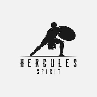 Hércules segurando escudo, modelo de design de logotipo de silhueta de guerreiro grego mito muscular