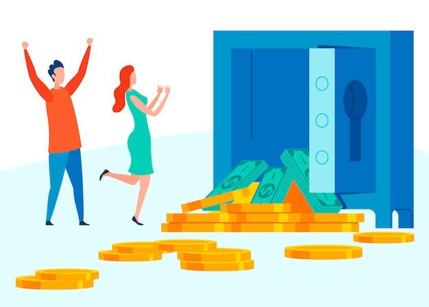 Herdando a grande soma da ilustração do dinheiro