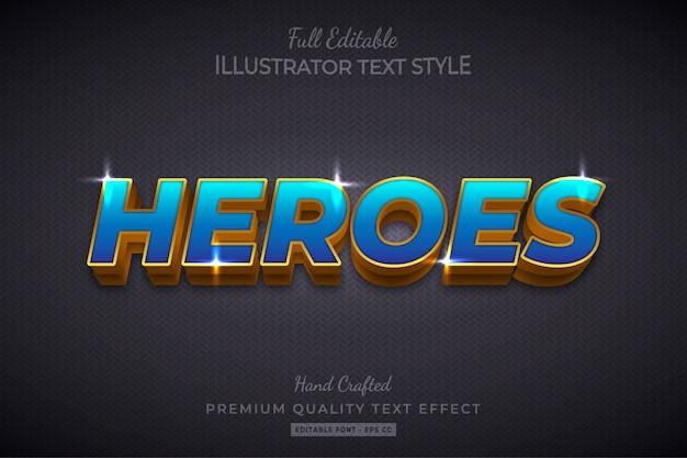 Heroes efeito de estilo de texto em 3d editável premium