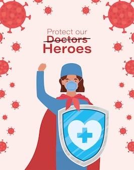 Herói de médico mulher com capa e escudo contra 2019 vector design