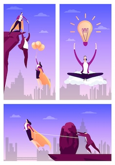 Herói de negócios ajudar as pessoas, ilustração. conceito de sucesso do empresário, super-herói mulher plana voar para realização de trabalho.