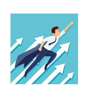 Herói de negócios jovens são voar para obter lucro no negócio