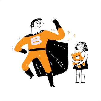 Herói e garota segurando um ursinho de pelúcia, ilustração vetorial desenhada à mão