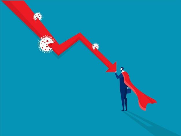 Herói empresário empurrando gráfico de queda para baixo.