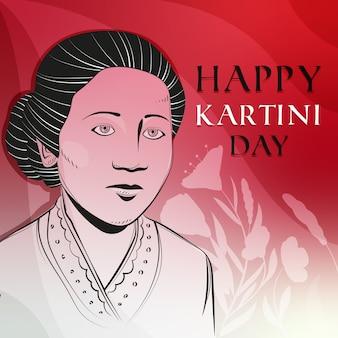 Herói feminina de celebração do dia de kartini
