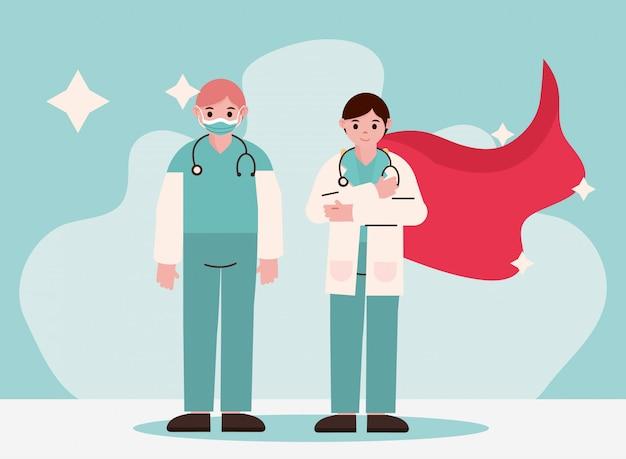 Herói médico, equipe profissional de médicos com roupas de proteção e capa