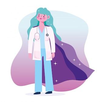 Herói médico feminino, mulher equipe profissional estetoscópio médico design