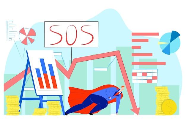 Herói perto de dinheiro, crise financeira, ilustração vetorial. gráfico de lucro decrescente, sinal de sos para finanças econômicas, investimento, riqueza. homem de negocios