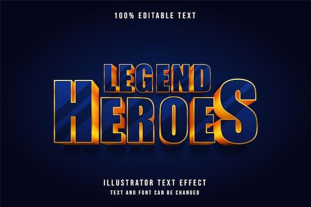 Heróis da lenda, efeito de texto editável em 3d moderno estilo de texto com gradação azul e ouro amarelo