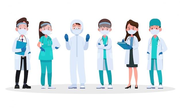 Heróis da linha de frente, equipe de médicos com máscaras médicas protetoras.
