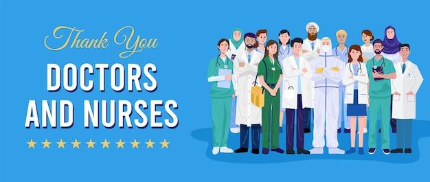 Heróis da linha de frente, médicos e enfermeiras