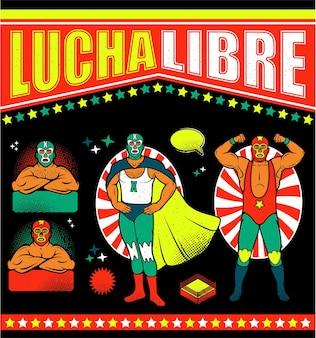 Heróis de lucha libre vintage. ilustração.