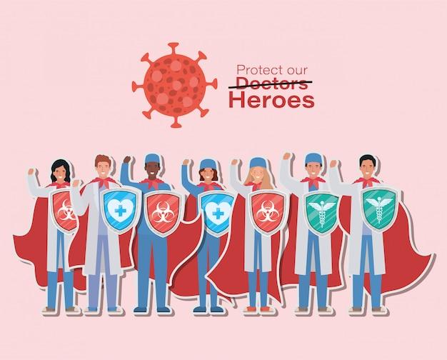 Heróis de médicos de homens e mulheres com capas e escudos contra o vírus 2019 ncov vector design