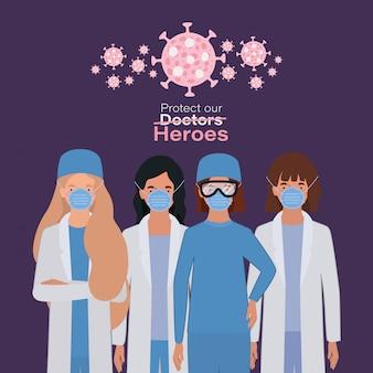 Heróis de mulheres médicos com uniformes e máscaras contra o vírus 2019 ncov vector design