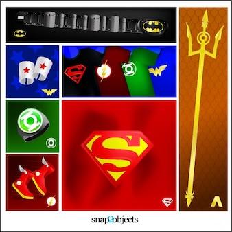 Heróis de quadrinhos e logos ilustração vetorizada