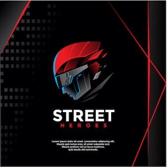Heróis de rua, modelo de logotipo de guerreiro