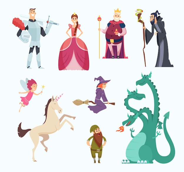 Heróis dos contos de fadas. conjunto de personagens engraçados do dragão princesa bruxa no estilo cartoon.