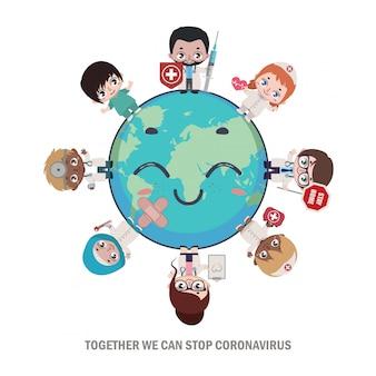 Heróis médicos e enfermeiros curando o mundo