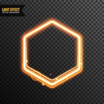 Hexagon light effect vector transparente com glitter dourado