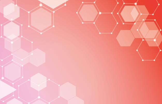 Hexagon line connect dots fundo de composição geométrica