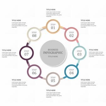 Hexágono 8 círculo ou passos para o conceito de negócio. tema de cores roxas.