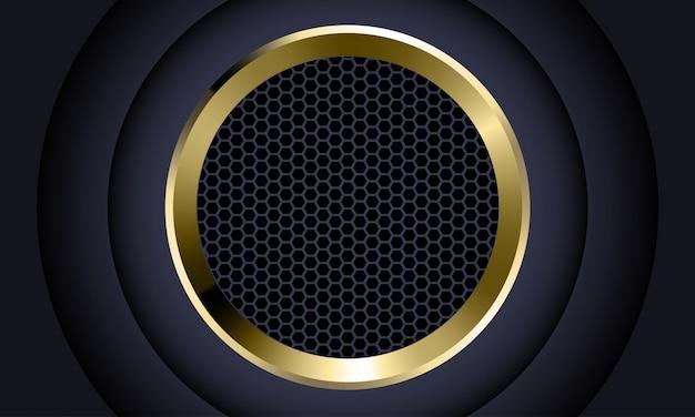 Hexágono cinza escuro do círculo de ouro malha fundo futurista de luxo.