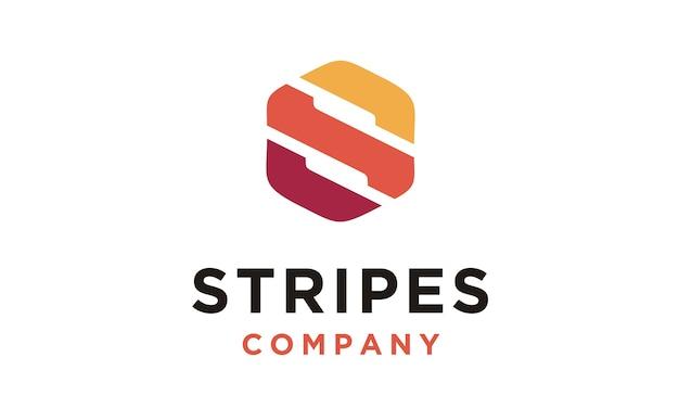 Hexágono com cor de listras para o design inicial do logotipo s