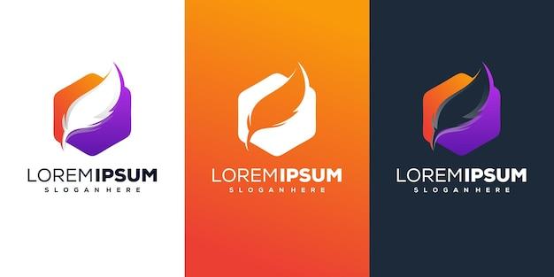 Hexágono com design de logotipo de penas