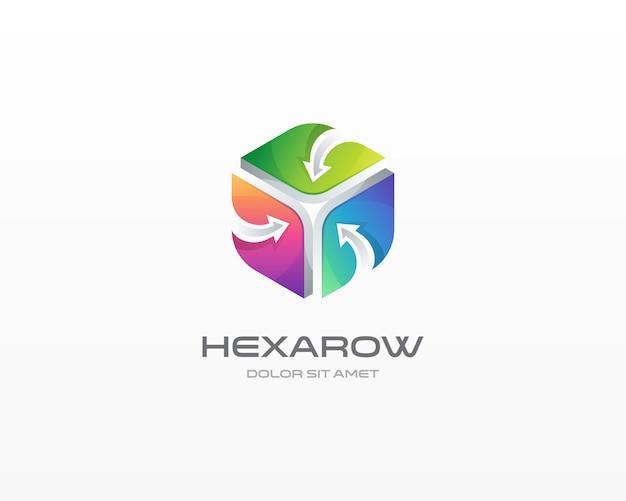 Hexágono com logotipo de seta. logotipo do hexágono colorido