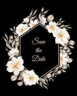 Hexágono com moldura de flor de magnólia branca para casamento