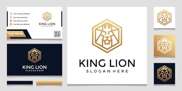 Hexágono criativo com inspiração de logotipo do conceito de leão. e designs de cartão de visita