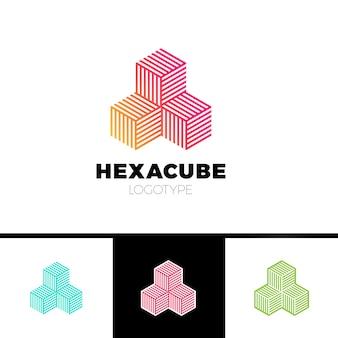 Hexágono cubo logotipo do grupo do setor 3d