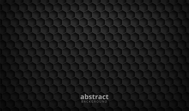Hexágono de fundo abstrato com textura preta