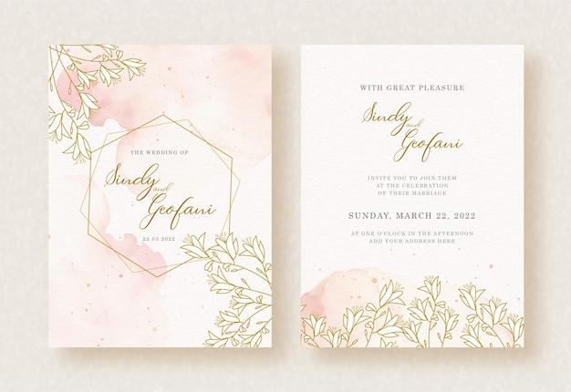 Hexágono de moldura dourada com fundo aquarela floral de convite de casamento