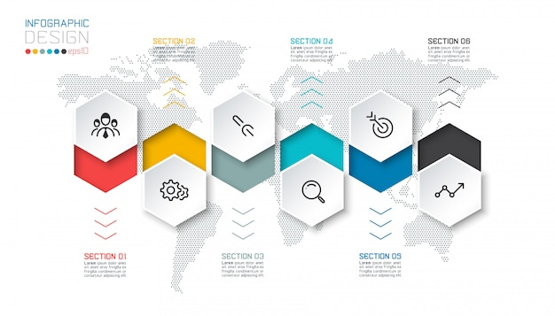 Hexágono de negócios rótulos forma barra de grupos de modelo infográfico.
