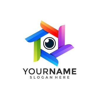 Hexágono e olho, logotipo de combinação com estilo