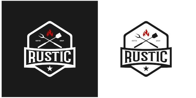 Hexágono emblema restaurante rústico estilo retro