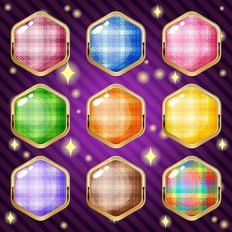 Hexágono escocês colorido para jogo de puzzle match 3.