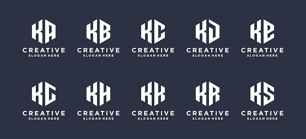 Hexágono forma letra k combinada com outros designs de logotipo abstratos.