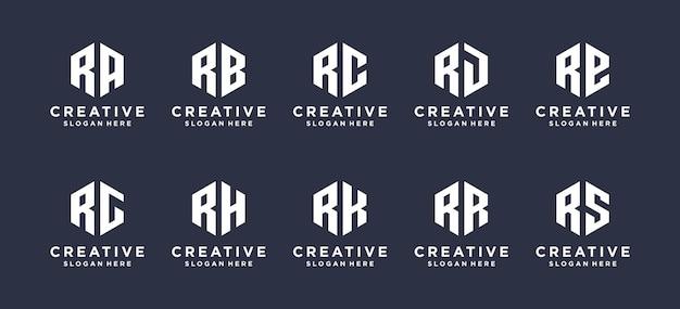 Hexágono forma letra r combinada com outros designs de logotipo.