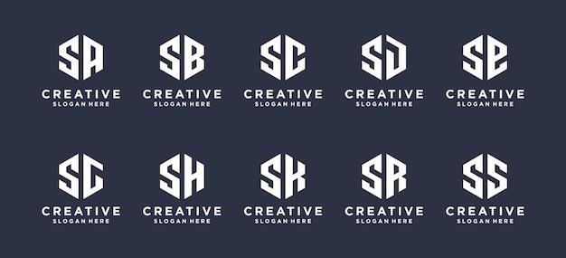 Hexágono forma letra s combinada com outros designs de logotipo de monograma.