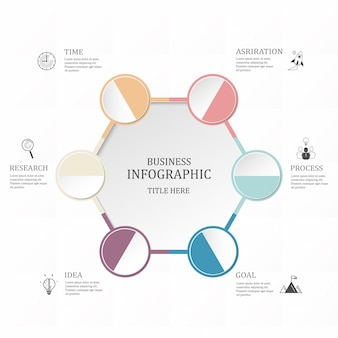 Hexágono infográfico 6 círculo ou passos para o negócio. conceito de cores roxas.