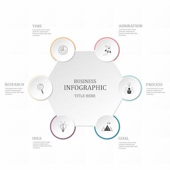 Hexágono infográfico 6 opção ou etapas para os negócios. conceito de cores roxas.
