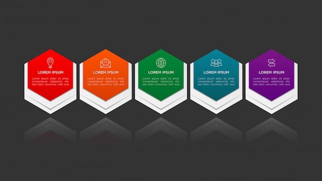 Hexágono infográfico design com gradiente e papel sombra efeito 5 opções ou etapas. conceito de negócio infográficos.