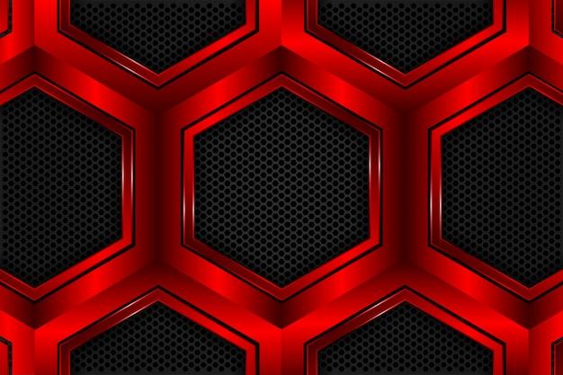 Hexágono vermelho metálico em malha preta como pano de fundo