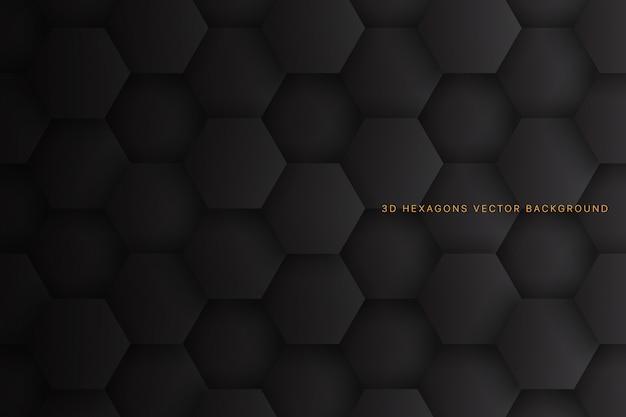 Hexágonos 3d abstrato cinza escuro