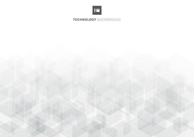 Hexágonos cinzentos abstratos que sobrepõem o teste padrão no conceito branco da tecnologia do fundo.