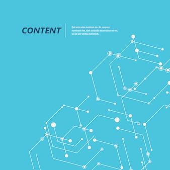 Hexágonos de conexão abstrata e fundo de rede social