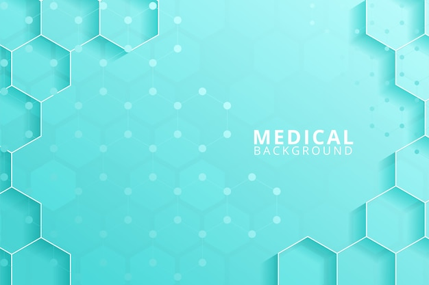 Hexágonos geométricos abstratos moldam o conceito de medicina e ciência.
